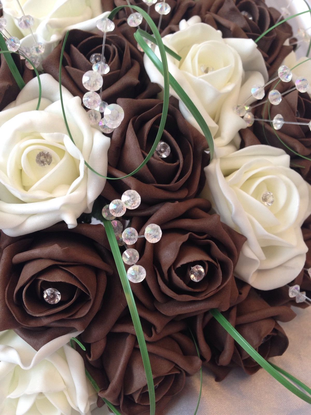 Wedding artificial flowers rose bouquets chocolate brown ivory bride wedding artificial flowers rose bouquets chocolate brown ivory bride corsage izmirmasajfo
